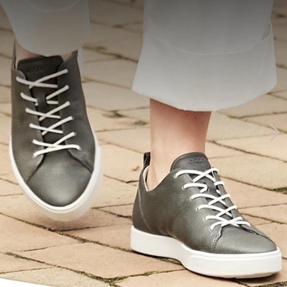 ECCO Gillian tie Gray Leather Sneakers NWOT